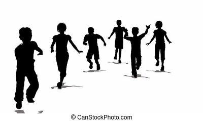wyścigi, sylwetka, dzieci