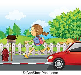 wyścigi, ulica, dziewczyna