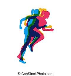wyścigi, wektor, poster.running, marathon., dziewczyny, pasaż, ilustracja, ludzie, barwny, twórczy