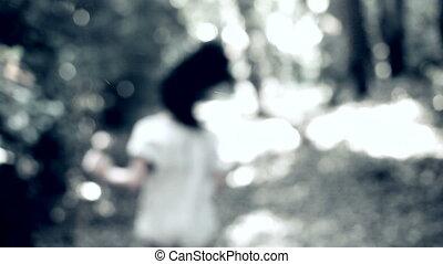wyścigi, wylękniony, kobieta, las