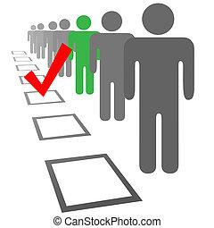 wybór, ludzie, kabiny, typować, głos, wybór
