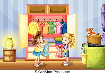 wybierając, dziewczyny, dwa, szafa, odzież