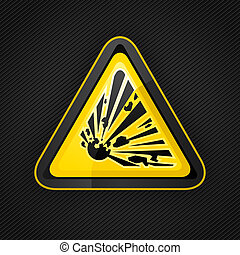 wybuchowy, metal, powierzchnia, znak, ostrzeżenie, ryzykować, trójkąt