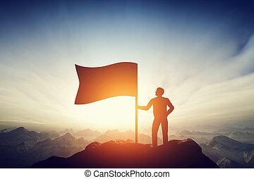 wychowywanie, dumny, wyzwanie, bandera, daszek, mountain., osiągnięcie, człowiek