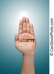 wychowywanie, ochotnik, ręka