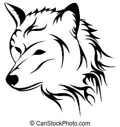 wycie, wektor, wilk, ilustracja