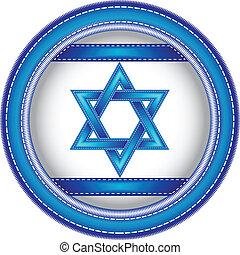 wyhaftowany, guzik, izrael bandera