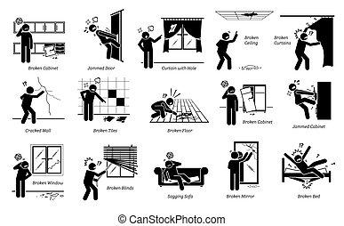 wyjścia, piktogram, icons., dom, problemy, strukturalny, wtykać figurę, defekty