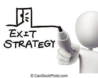 wyjście, strategia, człowiek, słówko, 3d, pisemny
