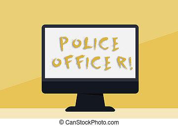 wykonanie, pojęcie, policja, barwny, freestanding, przestrzeń, tekst, ekran, drużyna, pisanie, handlowy, officer., komputer, oficer, demonstrowanie, czysty, słowo, desktop, stół., prawo, hydromonitor