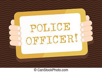 wykonanie, smartphone, policja, handlowy, tabliczka, farbować fotografię, ekran, wstecz, handheld, pisanie, nuta, officer., oficer, demonstrowanie, drużyna, showcasing, gadget., prawo, pokaz