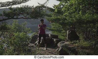 wykonuje, kobieta, las, stosowność