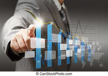 wykres, diagram, biznesmen, dotyk, wykres, faktyczny, ręka