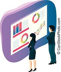 wykres, drużyna, handlowy zaludniają