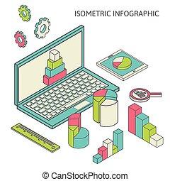 wykres, finanse, handlowy, analytics, isometric, graficzny