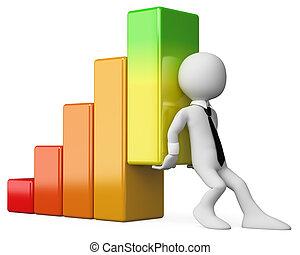 wykres, handlowy, ludzie., ekonomia, bar, 3d, biały