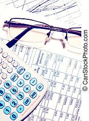 wykres, kalkulator, zameldować, okulary, finansowy, handlowy