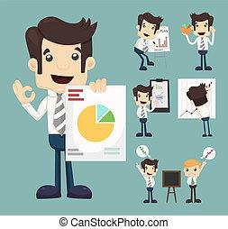 wykres, komplet, prezentacja, litery, biznesmen