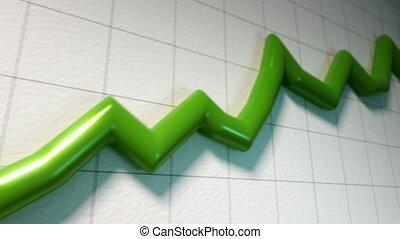 wykres, kreska, następujący, zielony