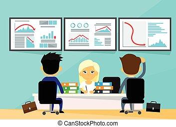 wykres, ludzie, finanse, kierunek, kupcy, handlowy, finansowy, na dół, kryzys, komputery, biuro, upadek, odmowa, biurko