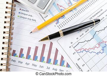 wykres, pióro, tło, handlowy