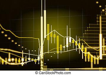 wykres, pień, finansowy, dane, hydromonitor, wystawa, poprowadzony, pałka świecy, targ, pojęcie