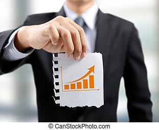 wykres, pojęcie, powstanie, biznesmen, niniejszy, wzrost, handlowy