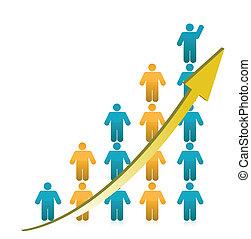 wykres, pokaz, wzrost, ludzie