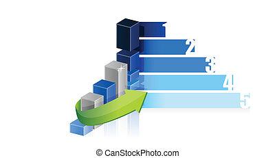 wykres, projektować, handlowa ilustracja, kroki