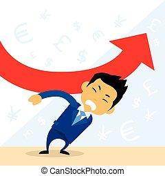 wykres, utrzymywać, biznesmen, finansowy, na dół, upadek, odmowa, czerwona strzała