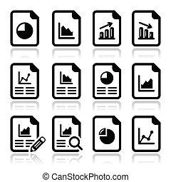 wykres, wykres, dokument, sroka, ikona