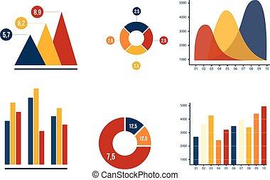 wykres, wykres, wektor, zbiór, handlowy, sroka, harmonia, kolor, handel