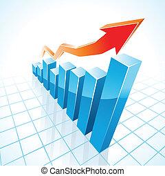 wykres, wzrost, bar, handlowy, 3d