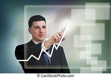 wykres, wzrost, biznesmen, poiting