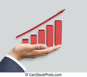 wykres, wzrost, dzierżawa ręka