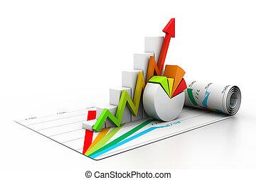 wykres, wzrost, handlowy, 3d