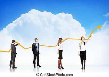 wykres, wzrost, handlowy, powodzenie