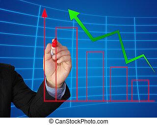wykres, wzrost, pisać, handlowy