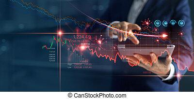 wykres, zbyt, caused., ruina, korona, wirus, biznesmen, analizując, covid-19, targ, ekonomiczny, należny, spadanie, używając, kryzys, tabliczka, wykres, pień, dane