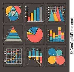 wykresy, komplet, barwny, handlowy