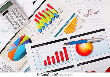 wykresy, stół., wykresy, handlowy