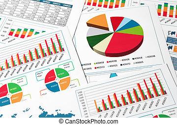 wykresy, wykresy, papier, zameldować