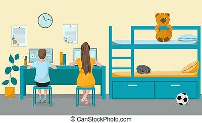 wykształcenie, farwater, próba, dzieci, pokój, siostra, uczyć się, dzieci w wieku szkolnym, łóżko, dom, computer., brat, oddalony, toys., wektor, dzieciaki, illustration., lekcje, pojęcie, online