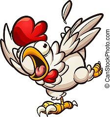 wylękniony, kurczak
