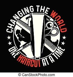 wymiana, t-shirt, świat, projektować, haircut., dobry, jeden