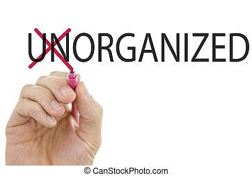 wymiana, zorganizowany, słowo, niezorganizowany