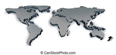 wymiarowy, świat, trzy, mapa