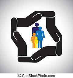 wyobrażenia, graficzny, dzieciaki, rodzina, wypadek, ochrona, etc, również, pojęcie, bezpieczeństwo, ojciec, vector., macierz, sanitarne ubezpieczenie, albo