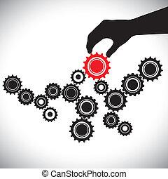 wyobrażenia, graficzny, hamowany, person(leader), &, znaczenie, gładki, ilustracja, to, wektor, czarny czerwony, klucz, drużyna, waga, biały, funkcjonowanie, koła zębate, hand(person)., przybory