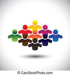 wyobrażenia, graficzny, pojęcie, grupa, barwny, ludzie, studenci, formując, abstrakcyjny, ikony, -, współposiadanie, albo, również, kolor, pracownicy, różny, vector., pracownicy, dzieci, egzekutorzy